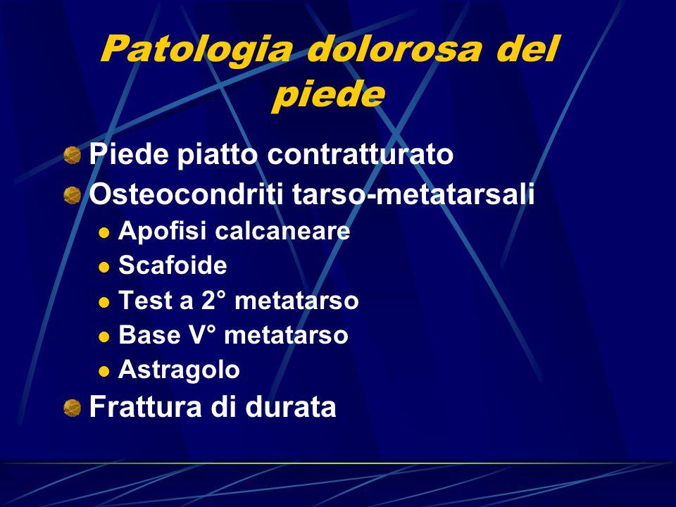 Patologia dolorosa del piede Piede piatto contratturato Osteocondriti tarso-metatarsali Apofisi calcaneare Scafoide Test a 2° metatarso Base V° metata
