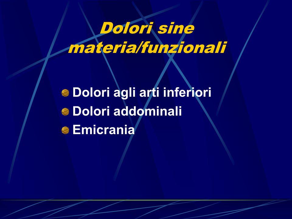 Dolori sine materia/funzionali Dolori agli arti inferiori Dolori addominali Emicrania