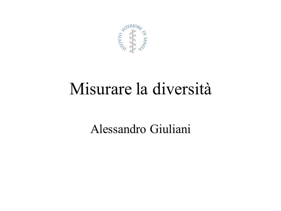 La diversità può essere definita solo in riferimento ad una popolazione e per quanto riguarda una misura dotata di variabilità, che può cioè assumere diversi valori in diversi individui La quantificazione della diversità è quindi un problema statistico