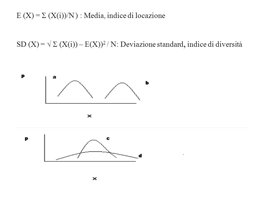 E (X) =  (X(i))/N ) : Media, indice di locazione SD (X) =   (X(i)) – E(X)) 2 / N: Deviazione standard, indice di diversità