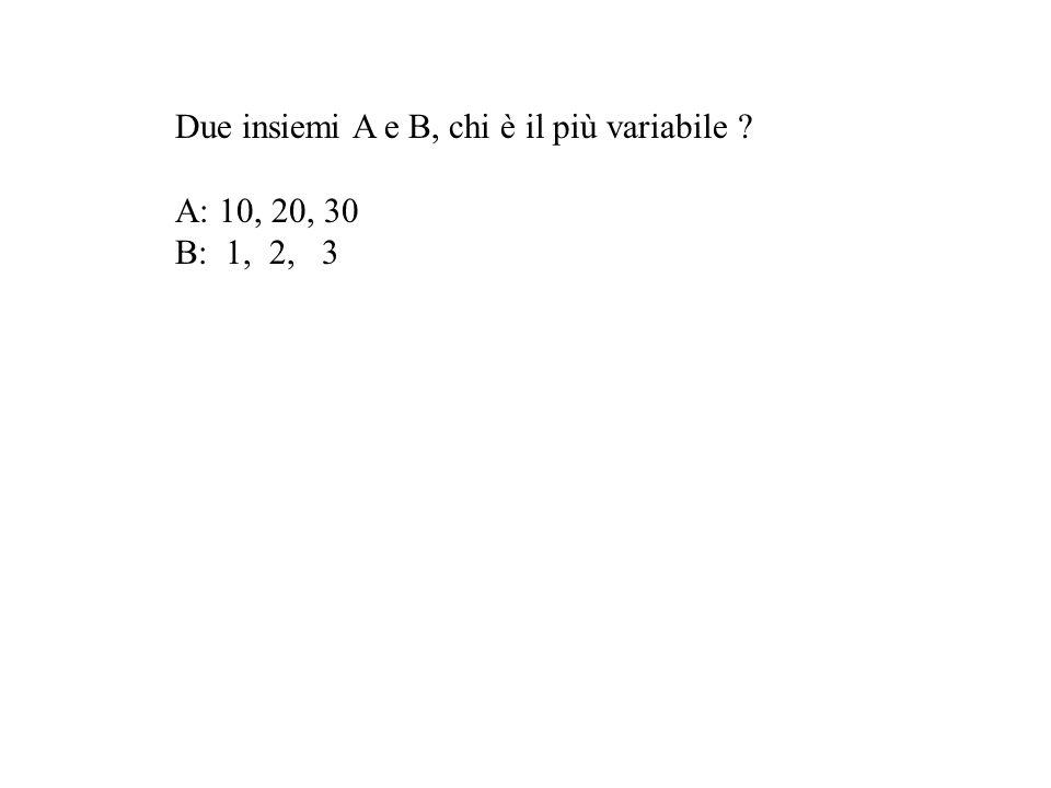 Due insiemi A e B, chi è il più variabile ? A: 10, 20, 30 B: 1, 2, 3