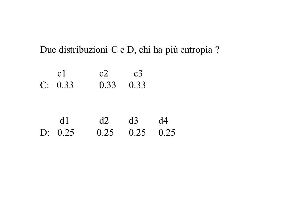Due distribuzioni C e D, chi ha più entropia ? c1 c2 c3 C: 0.330.330.33 d1 d2 d3 d4 D: 0.25 0.25 0.25 0.25