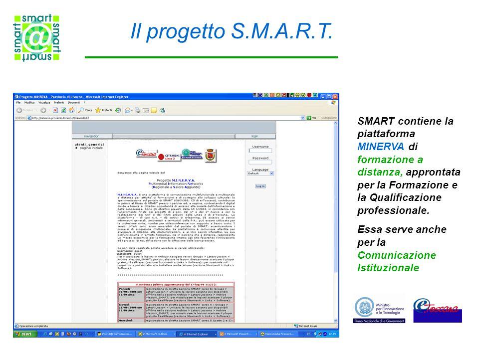 Il progetto S.M.A.R.T. SMART contiene la piattaforma MINERVA di formazione a distanza, approntata per la Formazione e la Qualificazione professionale.