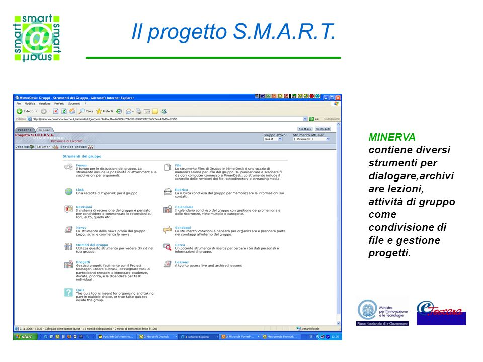 Il progetto S.M.A.R.T. MINERVA contiene diversi strumenti per dialogare,archivi are lezioni, attività di gruppo come condivisione di file e gestione p
