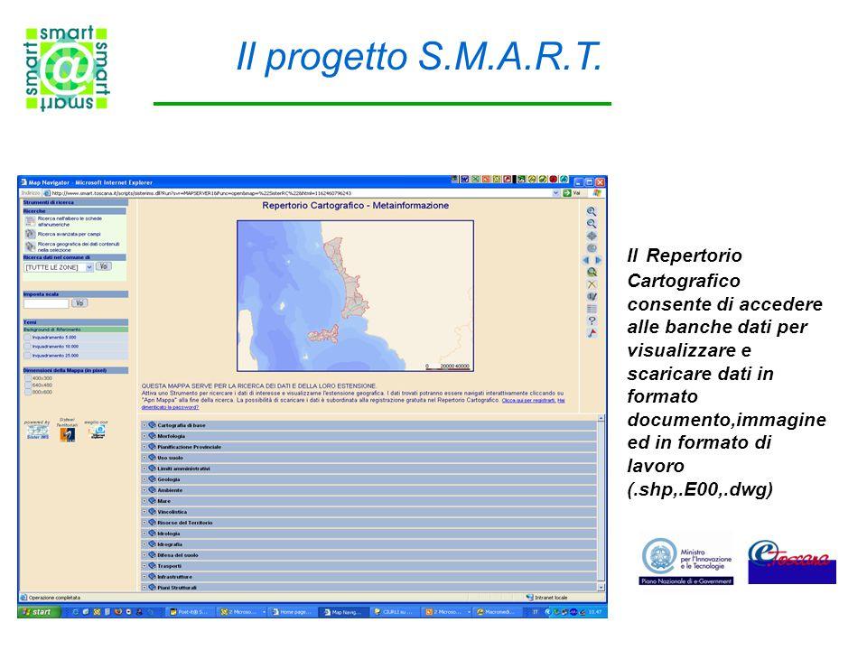 Il Repertorio Cartografico consente di accedere alle banche dati per visualizzare e scaricare dati in formato documento,immagine ed in formato di lavoro (.shp,.E00,.dwg) Il progetto S.M.A.R.T.