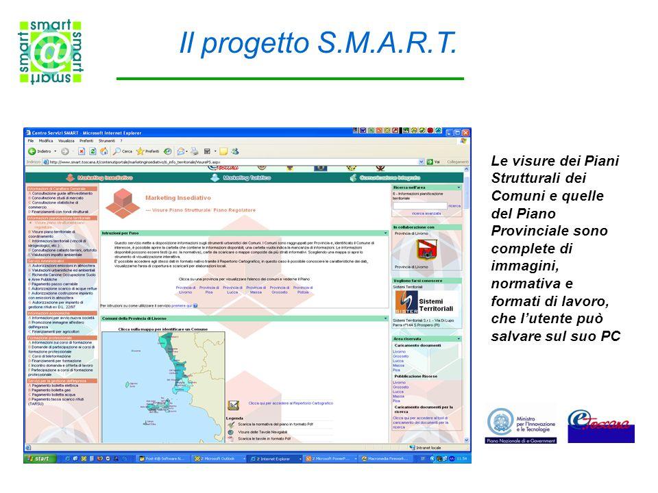 Le visure dei Piani Strutturali dei Comuni e quelle del Piano Provinciale sono complete di immagini, normativa e formati di lavoro, che l'utente può salvare sul suo PC Il progetto S.M.A.R.T.