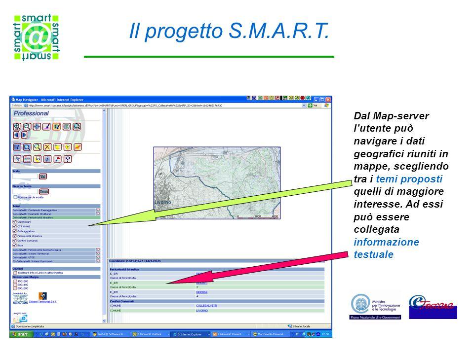 Dal Map-server l'utente può navigare i dati geografici riuniti in mappe, scegliendo tra i temi proposti quelli di maggiore interesse. Ad essi può esse