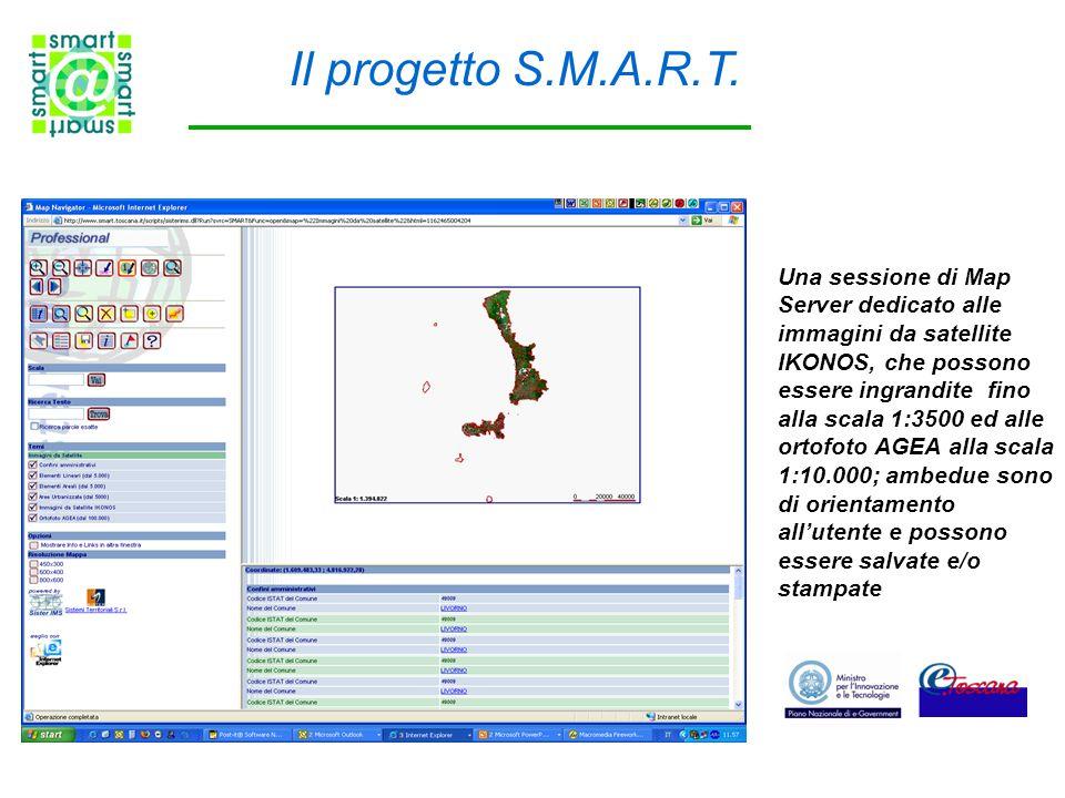 Il progetto S.M.A.R.T. Una sessione di Map Server dedicato alle immagini da satellite IKONOS, che possono essere ingrandite fino alla scala 1:3500 ed