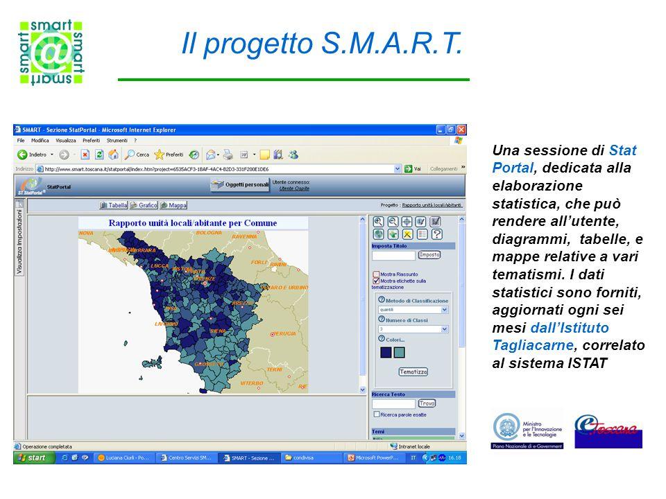 Il progetto S.M.A.R.T. Una sessione di Stat Portal, dedicata alla elaborazione statistica, che può rendere all'utente, diagrammi, tabelle, e mappe rel