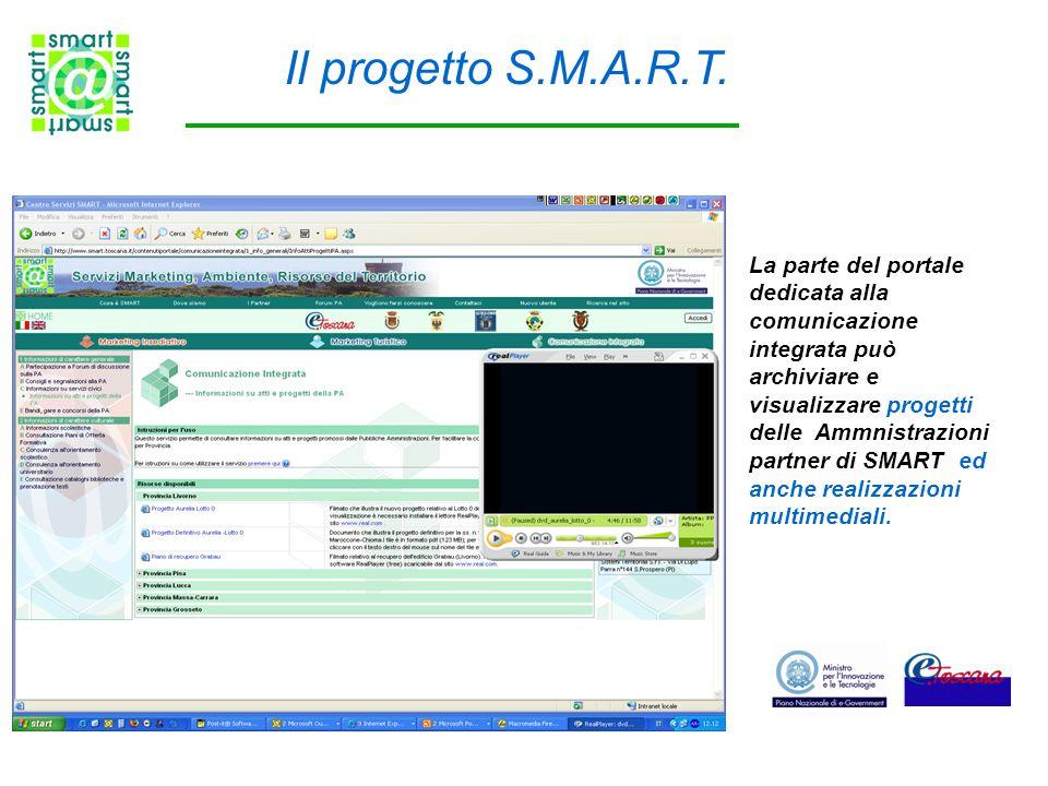Il progetto S.M.A.R.T. La parte del portale dedicata alla comunicazione integrata può archiviare e visualizzare progetti delle Ammnistrazioni partner