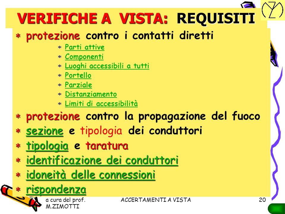 a cura del prof. M.ZIMOTTI ACCERTAMENTI A VISTA19 VERIFICHE A VISTA La norma CEI 64-8 prescrive che, prima della messa in servizio, ogni impianto deve