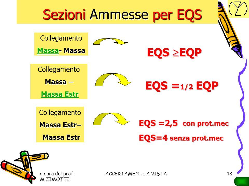 a cura del prof. M.ZIMOTTI ACCERTAMENTI A VISTA42 Sezioni Ammesse per EQP Sezioni Ammesse per EQP S F Se la sezione del CONDUTTORE DI FASE S F è EQP C