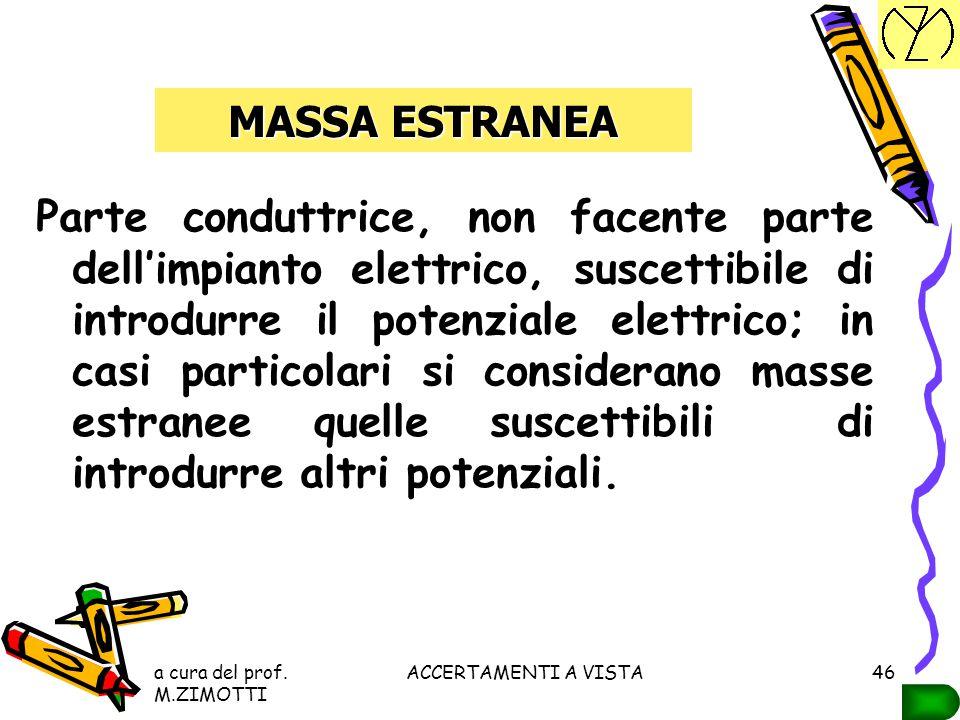 a cura del prof. M.ZIMOTTI ACCERTAMENTI A VISTA45 MASSA Parte conduttrice, facente parte dell'impianto elettrico, oppure di un apparecchio utilizzator
