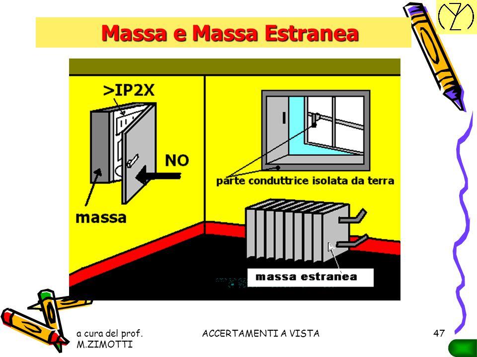 a cura del prof. M.ZIMOTTI ACCERTAMENTI A VISTA46 MASSA ESTRANEA Parte conduttrice, non facente parte dell'impianto elettrico, suscettibile di introdu