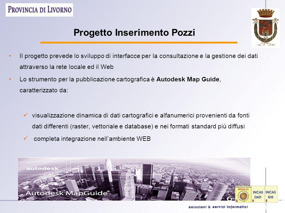 Progetto Inserimento Pozzi Il progetto prevede lo sviluppo di interfacce per la consultazione e la gestione dei dati attraverso la rete locale ed il W