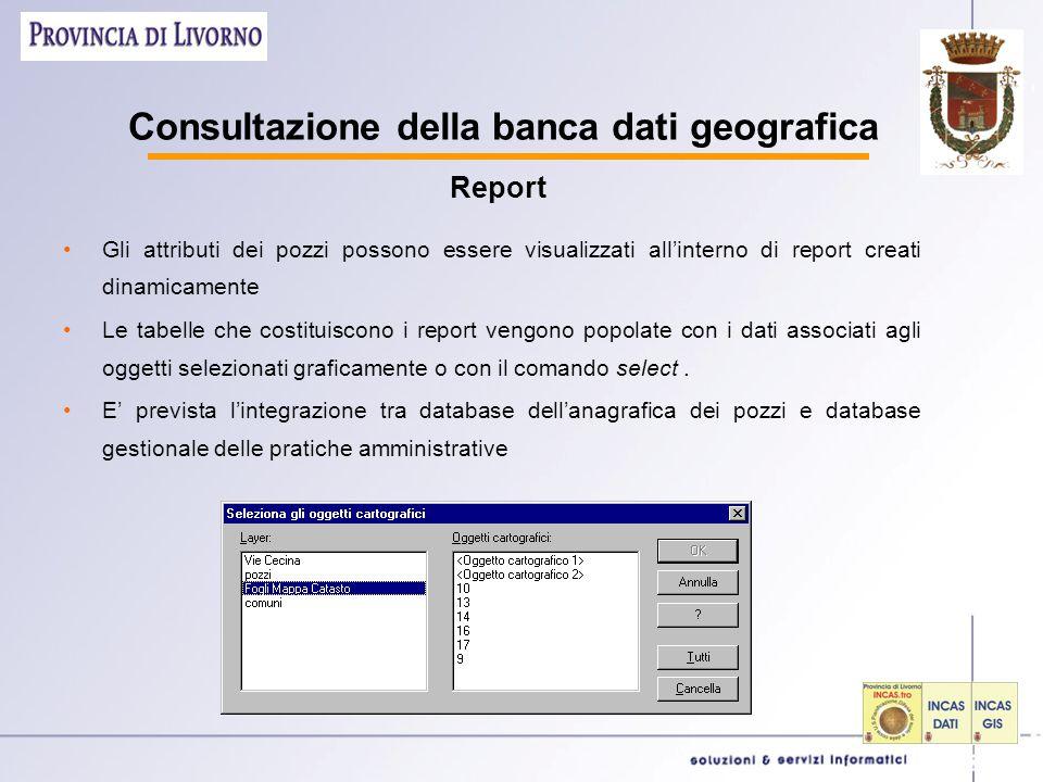 Consultazione della banca dati geografica Gli attributi dei pozzi possono essere visualizzati all'interno di report creati dinamicamente Le tabelle che costituiscono i report vengono popolate con i dati associati agli oggetti selezionati graficamente o con il comando select.