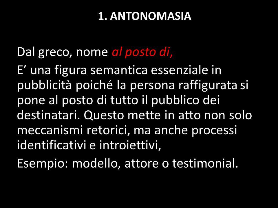 1. ANTONOMASIA Dal greco, nome al posto di, E' una figura semantica essenziale in pubblicità poiché la persona raffigurata si pone al posto di tutto i