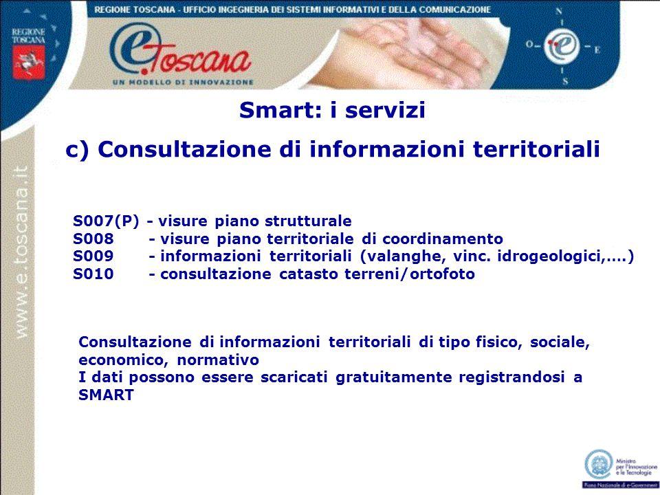 Smart: i servizi c) Consultazione di informazioni territoriali Consultazione di informazioni territoriali di tipo fisico, sociale, economico, normativ