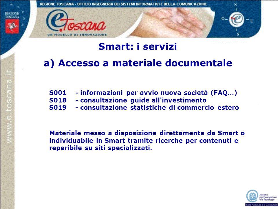 Smart: i servizi a) Accesso a materiale documentale S001 - informazioni per avvio nuova società (FAQ…) S018 - consultazione guide all'investimento S01