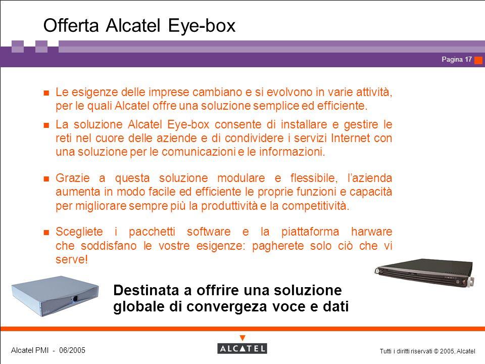 Tutti i diritti riservati © 2005, Alcatel Alcatel PMI - 06/2005 Page 17 Pagina 17 Offerta Alcatel Eye-box Destinata a offrire una soluzione globale di