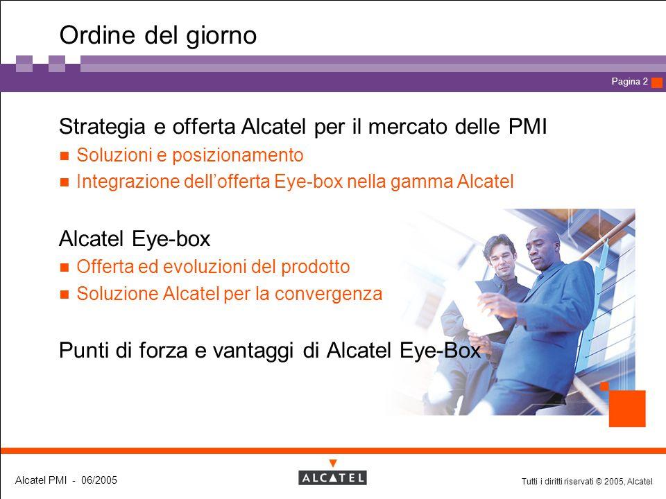 Tutti i diritti riservati © 2005, Alcatel Alcatel PMI - 06/2005 Page 13 Pagina 13 Offerta commerciale Alcatel Eye-box Alcatel Eye-box Compact Edition Alcatel Eye-box Premium Edition Il pacchetto Secure Router è compreso in tutte le piattaforme