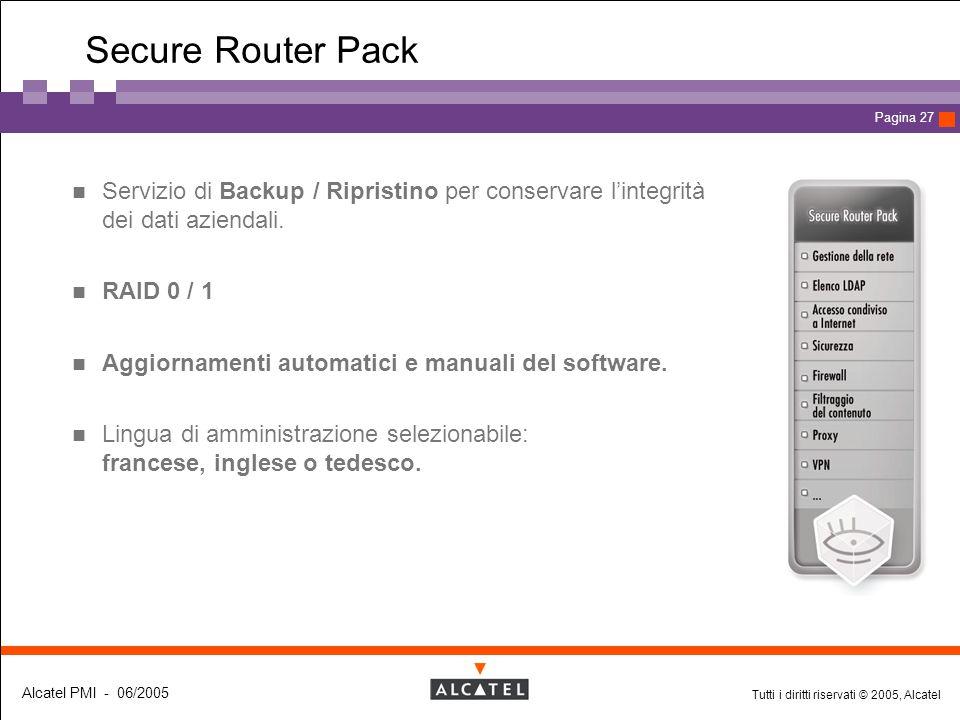 Tutti i diritti riservati © 2005, Alcatel Alcatel PMI - 06/2005 Page 27 Pagina 27 Secure Router Pack Servizio di Backup / Ripristino per conservare l'