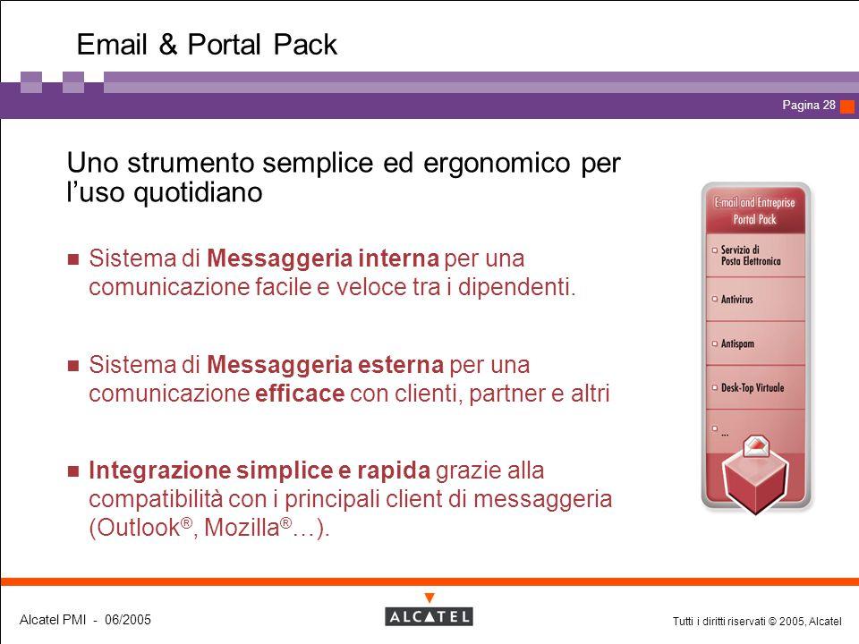 Tutti i diritti riservati © 2005, Alcatel Alcatel PMI - 06/2005 Page 28 Pagina 28 Email & Portal Pack  Uno strumento semplice ed ergonomico per l'uso