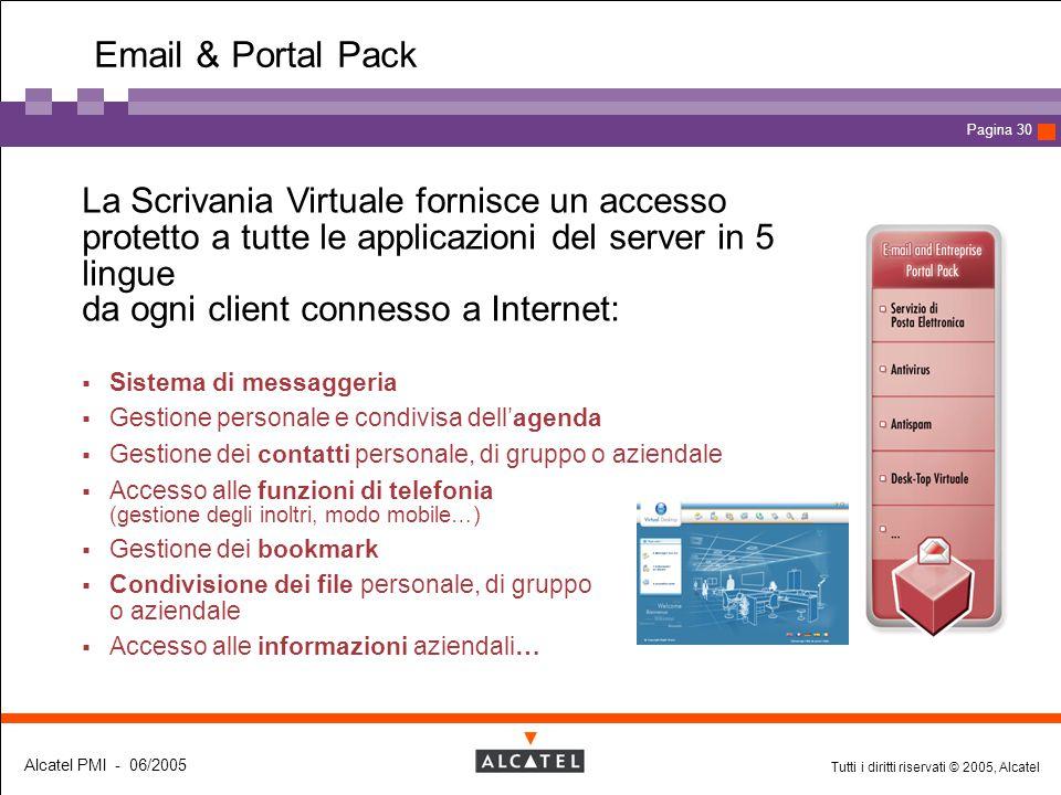 Tutti i diritti riservati © 2005, Alcatel Alcatel PMI - 06/2005 Page 30 Pagina 30 Email & Portal Pack  La Scrivania Virtuale fornisce un accesso prot