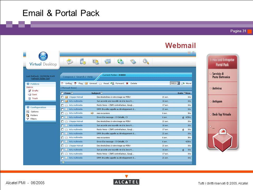 Tutti i diritti riservati © 2005, Alcatel Alcatel PMI - 06/2005 Page 31 Pagina 31 Webmail Email & Portal Pack