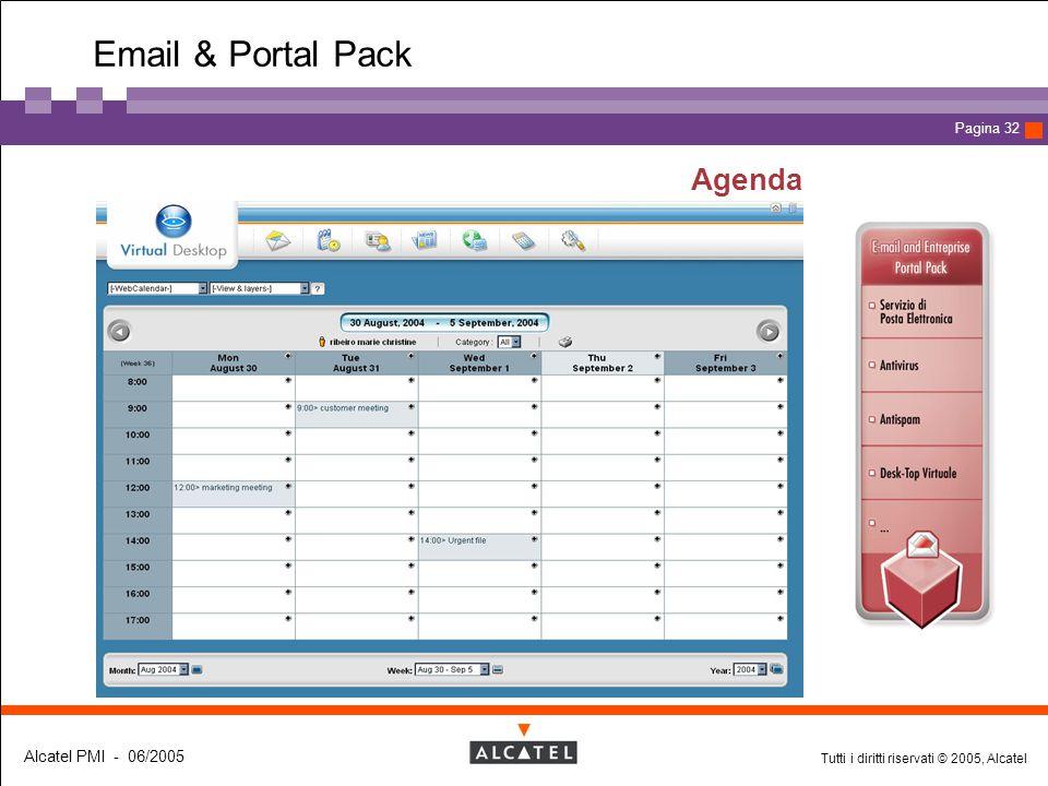 Tutti i diritti riservati © 2005, Alcatel Alcatel PMI - 06/2005 Page 32 Pagina 32 Agenda Email & Portal Pack