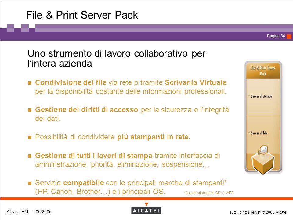 Tutti i diritti riservati © 2005, Alcatel Alcatel PMI - 06/2005 Page 34 Pagina 34 File & Print Server Pack  Uno strumento di lavoro collaborativo per