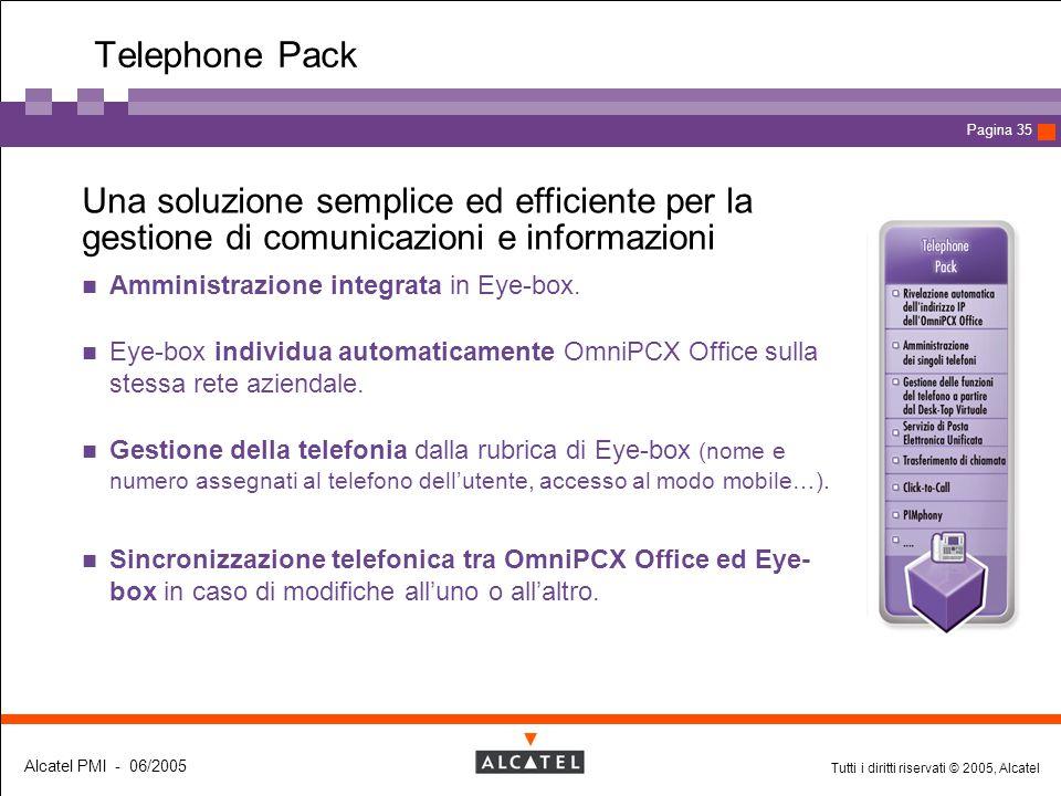 Tutti i diritti riservati © 2005, Alcatel Alcatel PMI - 06/2005 Page 35 Pagina 35 Telephone Pack  Una soluzione semplice ed efficiente per la gestion