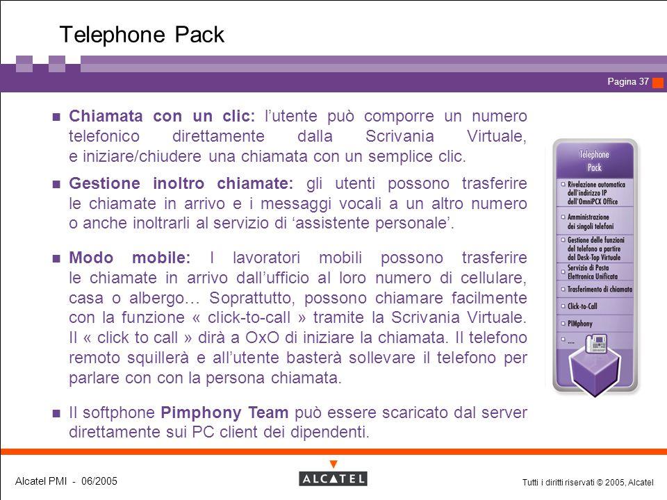 Tutti i diritti riservati © 2005, Alcatel Alcatel PMI - 06/2005 Page 37 Pagina 37 Telephone Pack Chiamata con un clic: l'utente può comporre un numero