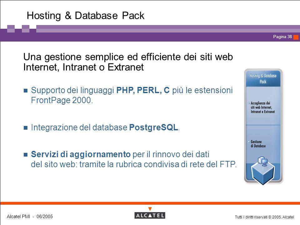 Tutti i diritti riservati © 2005, Alcatel Alcatel PMI - 06/2005 Page 38 Pagina 38 Hosting & Database Pack  Una gestione semplice ed efficiente dei si