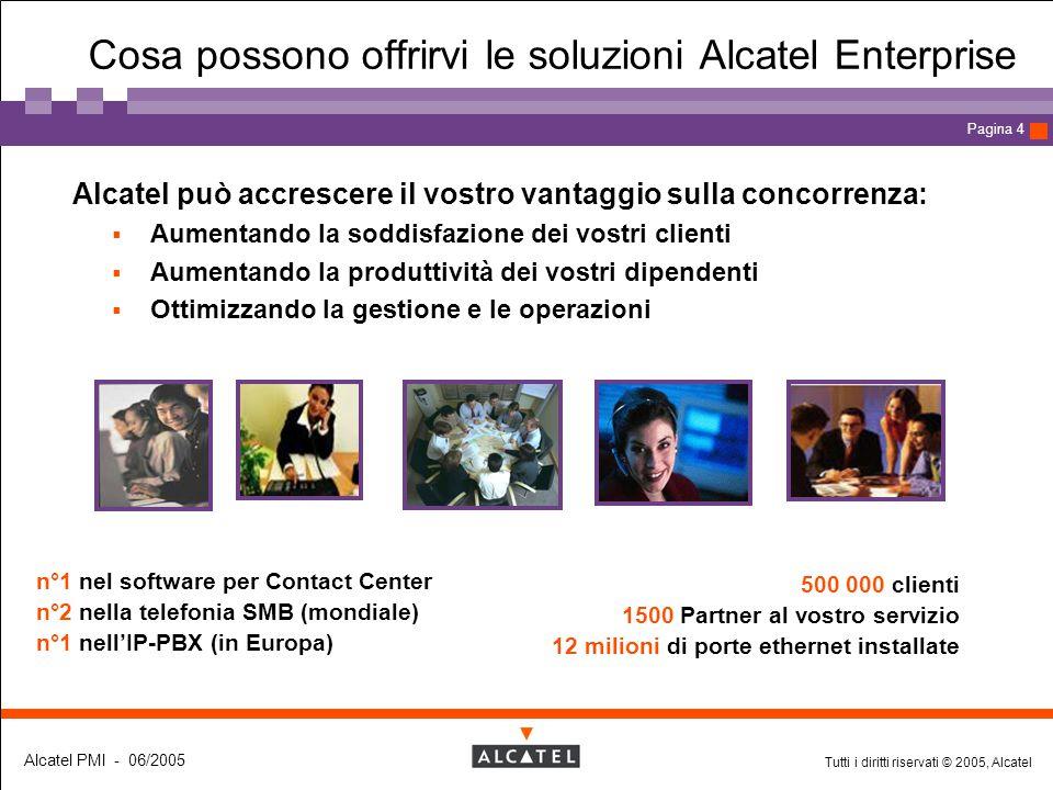 Tutti i diritti riservati © 2005, Alcatel Alcatel PMI - 06/2005 Page 4 Pagina 4 Alcatel può accrescere il vostro vantaggio sulla concorrenza:  Aument