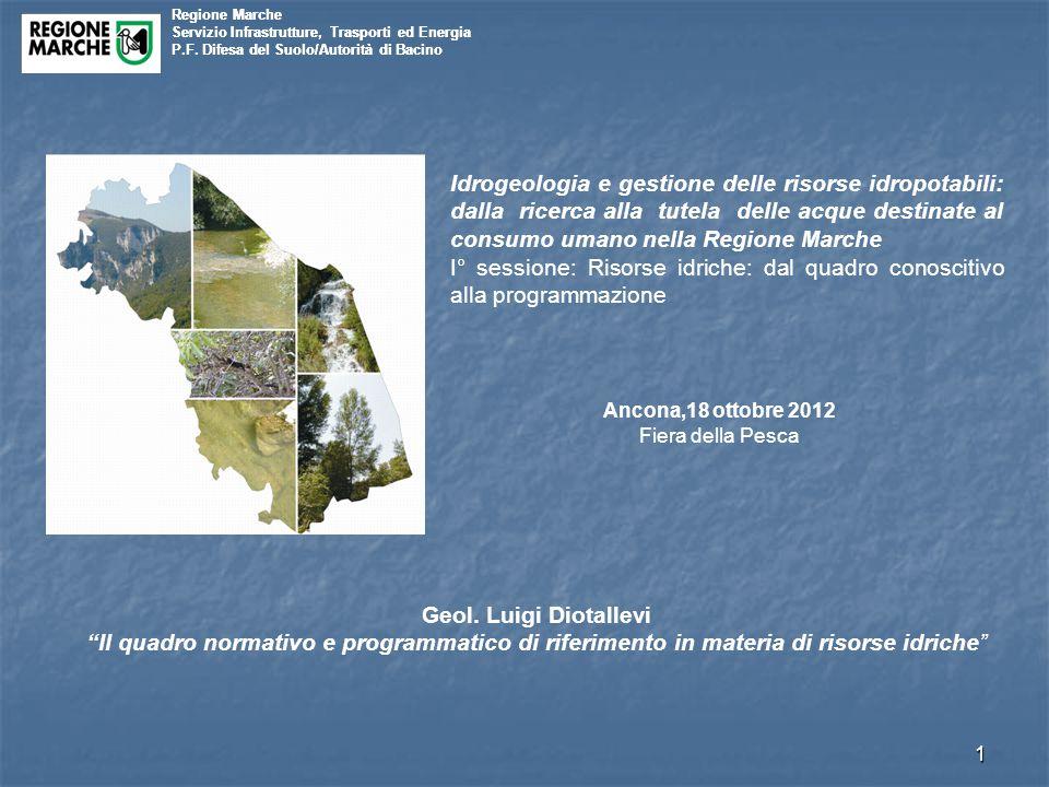 Regione Marche Servizio Infrastrutture, Trasporti ed Energia P.F. Difesa del Suolo/Autorità di Bacino 1 Regione Marche Servizio Infrastrutture, Traspo