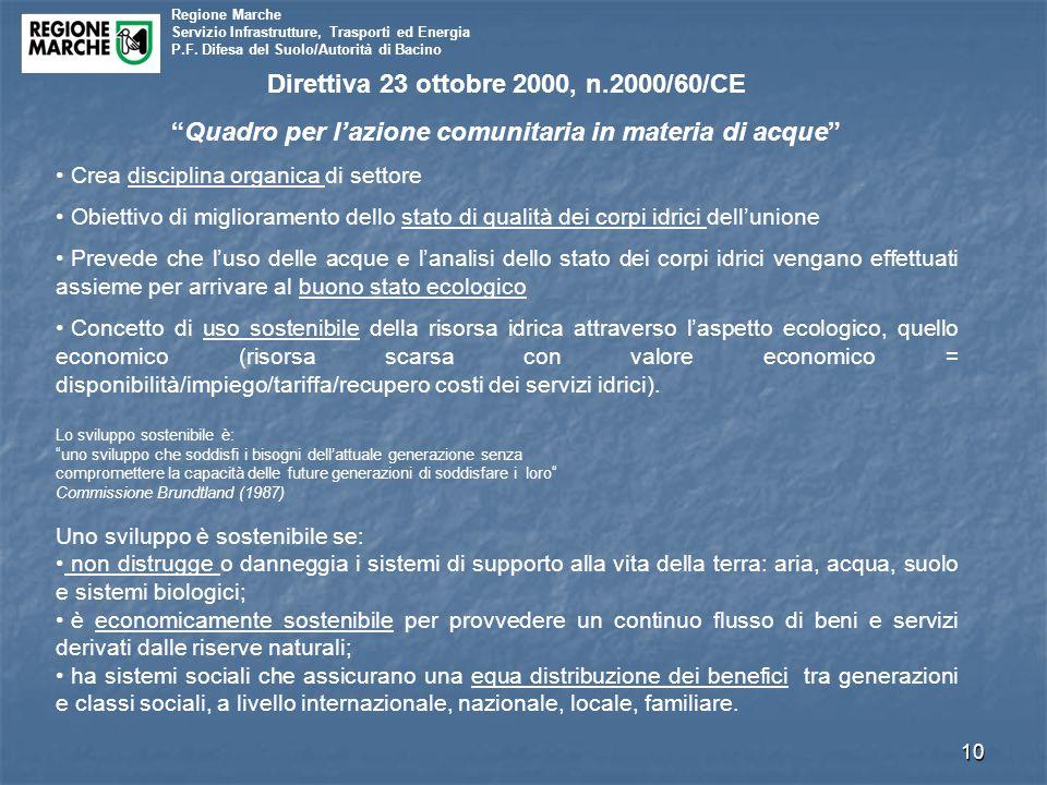 """Regione Marche Servizio Infrastrutture, Trasporti ed Energia P.F. Difesa del Suolo/Autorità di Bacino 10 Direttiva 23 ottobre 2000, n.2000/60/CE """"Quad"""