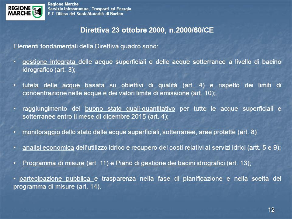 Regione Marche Servizio Infrastrutture, Trasporti ed Energia P.F. Difesa del Suolo/Autorità di Bacino 12 Direttiva 23 ottobre 2000, n.2000/60/CE Eleme