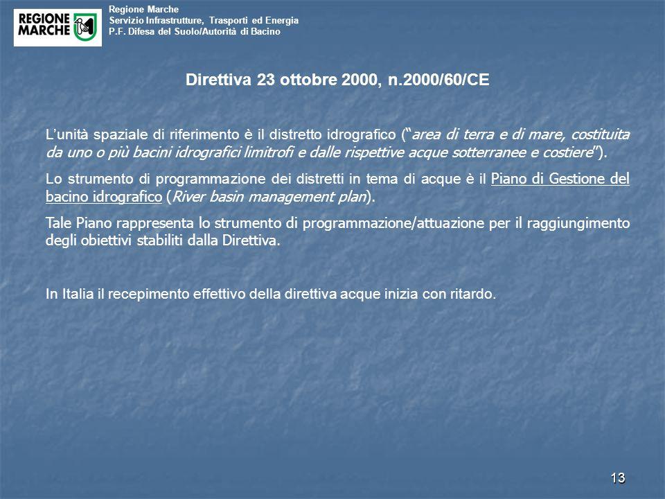 Regione Marche Servizio Infrastrutture, Trasporti ed Energia P.F. Difesa del Suolo/Autorità di Bacino 13 Direttiva 23 ottobre 2000, n.2000/60/CE L'uni
