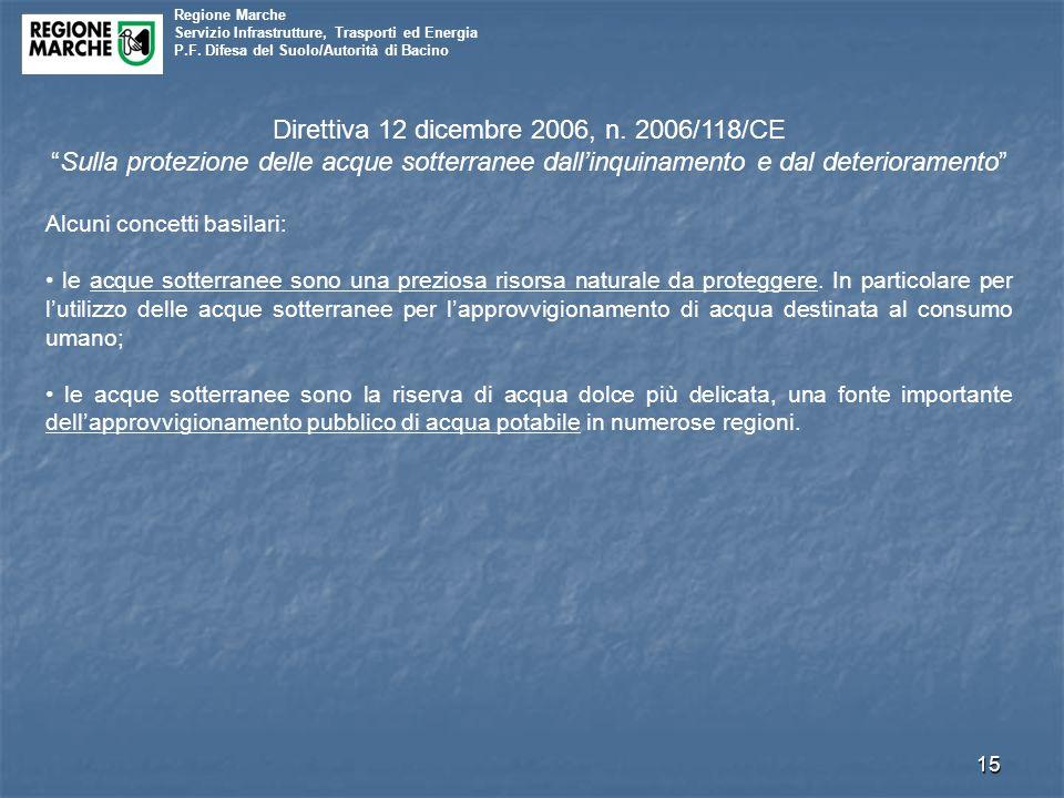 """Regione Marche Servizio Infrastrutture, Trasporti ed Energia P.F. Difesa del Suolo/Autorità di Bacino 15 Direttiva 12 dicembre 2006, n. 2006/118/CE """"S"""