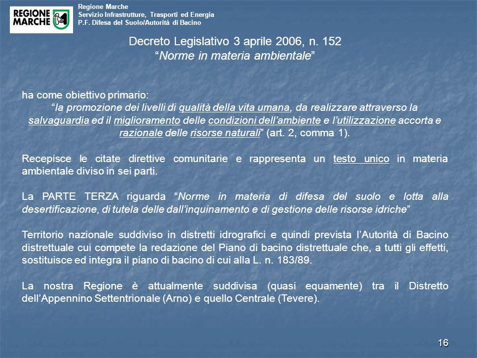 """Regione Marche Servizio Infrastrutture, Trasporti ed Energia P.F. Difesa del Suolo/Autorità di Bacino 16 Decreto Legislativo 3 aprile 2006, n. 152 """"No"""