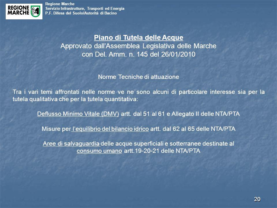 Regione Marche Servizio Infrastrutture, Trasporti ed Energia P.F. Difesa del Suolo/Autorità di Bacino 20 Piano di Tutela delle Acque Approvato dall'As