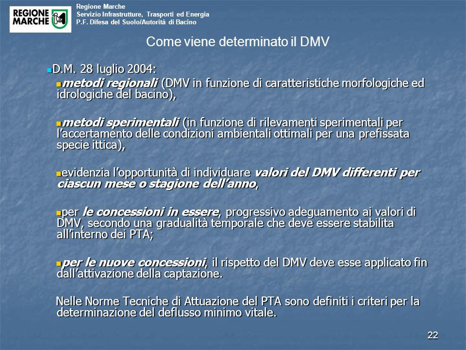Regione Marche Servizio Infrastrutture, Trasporti ed Energia P.F. Difesa del Suolo/Autorità di Bacino Come viene determinato il DMV D.M. 28 luglio 200