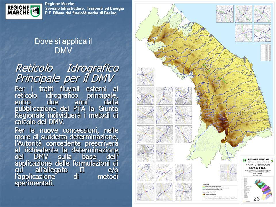 Regione Marche Servizio Infrastrutture, Trasporti ed Energia P.F. Difesa del Suolo/Autorità di Bacino Reticolo Idrografico Principale per il DMV Per i
