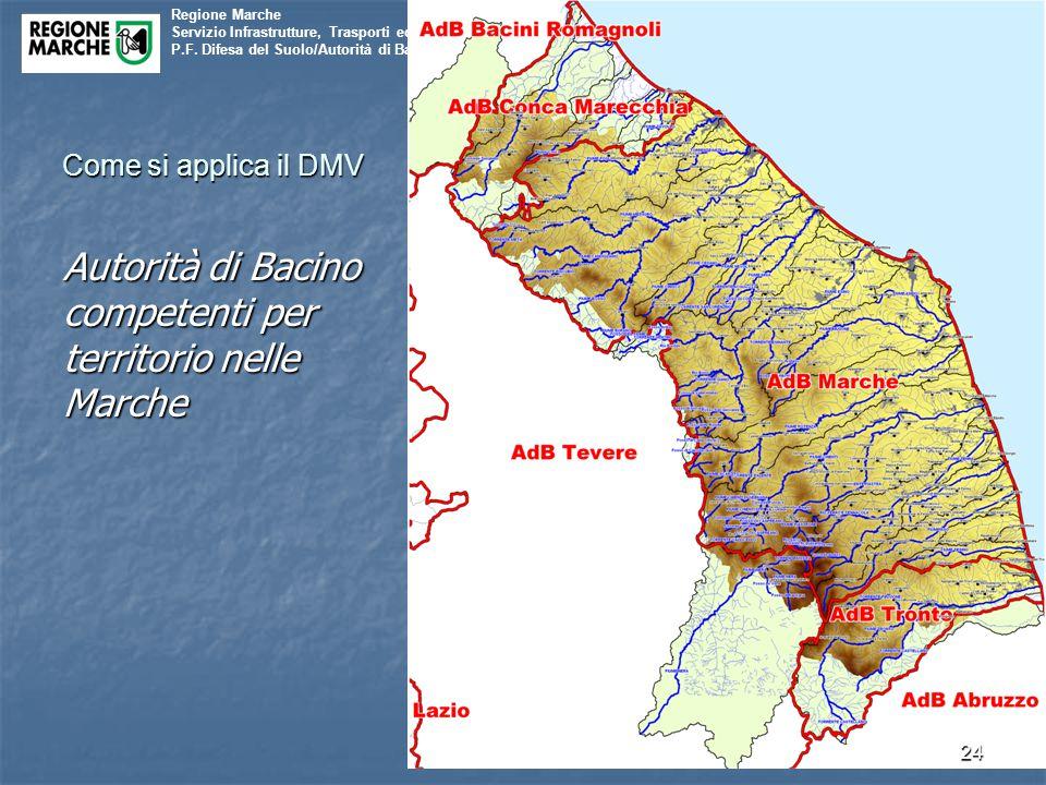 Regione Marche Servizio Infrastrutture, Trasporti ed Energia P.F. Difesa del Suolo/Autorità di Bacino Come si applica il DMV Autorità di Bacino compet