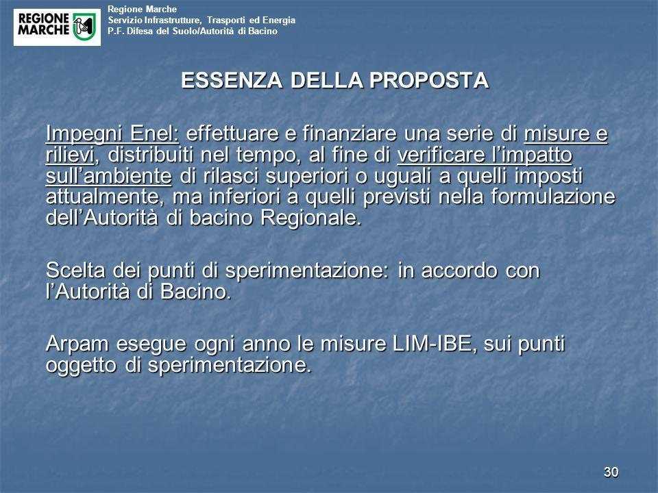Regione Marche Servizio Infrastrutture, Trasporti ed Energia P.F. Difesa del Suolo/Autorità di Bacino ESSENZA DELLA PROPOSTA Impegni Enel: effettuare