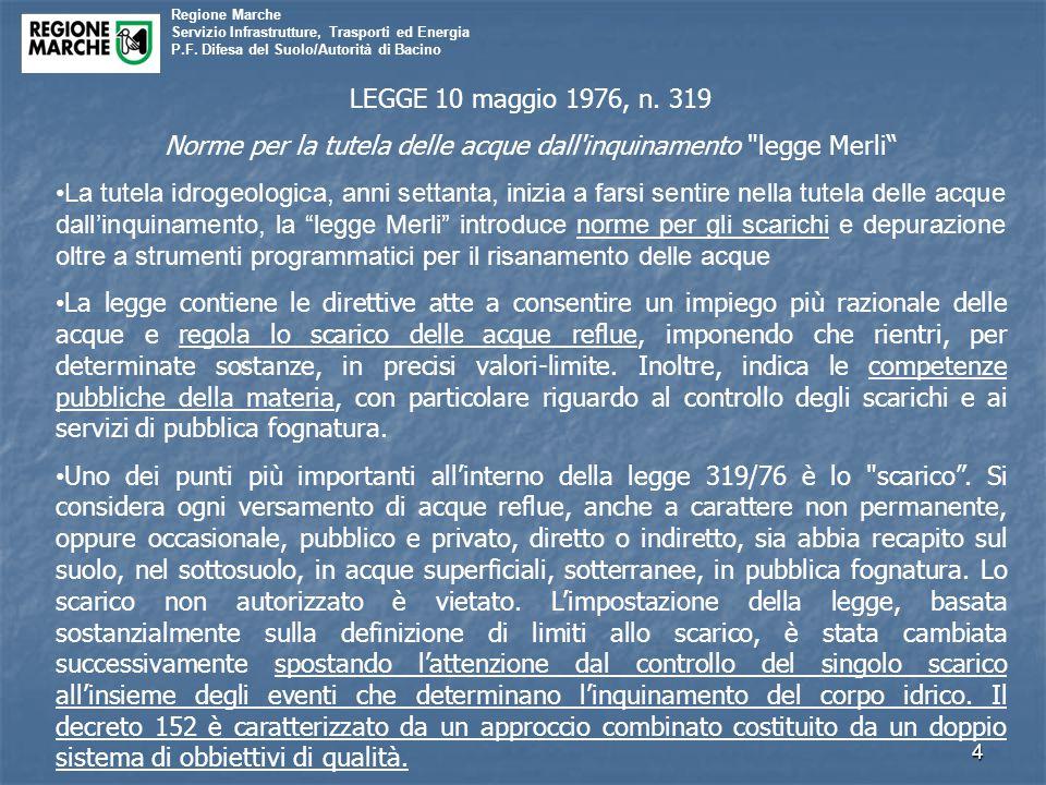 Regione Marche Servizio Infrastrutture, Trasporti ed Energia P.F. Difesa del Suolo/Autorità di Bacino 4 LEGGE 10 maggio 1976, n. 319 Norme per la tute