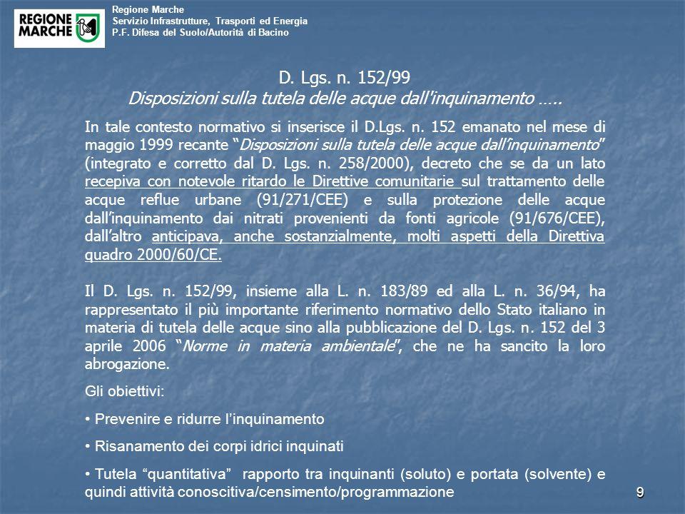 Regione Marche Servizio Infrastrutture, Trasporti ed Energia P.F. Difesa del Suolo/Autorità di Bacino 9 D. Lgs. n. 152/99 Disposizioni sulla tutela de