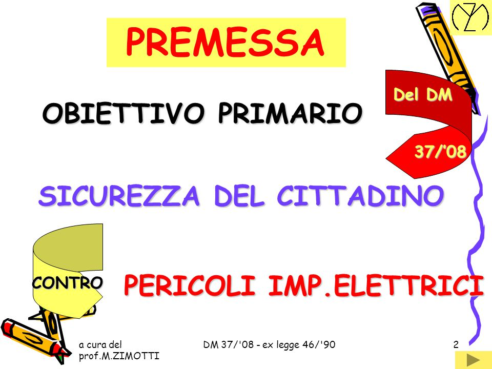 a cura del prof.M.ZIMOTTI DM 37/ 08 - ex legge 46/ 902 PREMESSA OBIETTIVO PRIMARIO SICUREZZA DEL CITTADINO CONTRO PERICOLI IMP.ELETTRICI Del DM 37/'08
