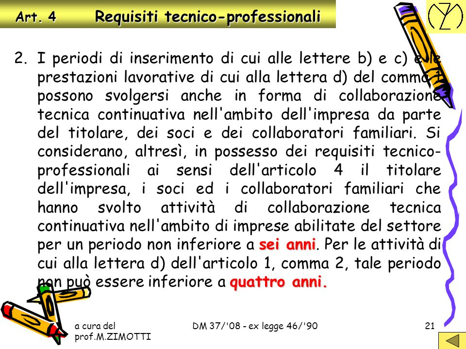 a cura del prof.M.ZIMOTTI DM 37/'08 - ex legge 46/'9020 Art. 4 Requisiti tecnico-professionali titolo o attestato due anni C:titolo o attestato conseg